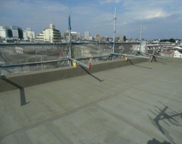 防水施工中:仮防水機能付きカチオン施工後